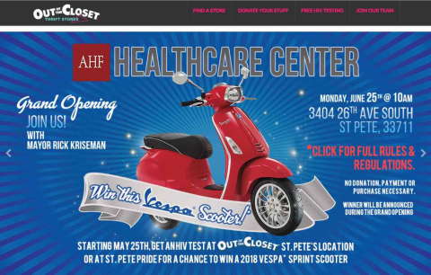 To raise awareness about the free HIV/AIDS services, individuals can get a free, rapid, 1-minute HIV test at the Out of the Closet thrift store before Monday to register and enter to win a 2018 Vespa Scooter. (Graphic: Business Wire)