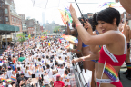 Models on PVH rainbow-themed double-decker bus (Photo: Business Wire)