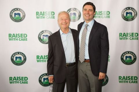 Niman Ranch's first hog farmer and founder of the Niman Ranch Pork Company celebrates the launch of the first ever domestic Certified Humane prosciutto with Daniele's co-founder, Stefano Dukcevich. Leg #20 is coming back home to Rhode Island on Tuesday, June 26. (Photo: Business Wire)