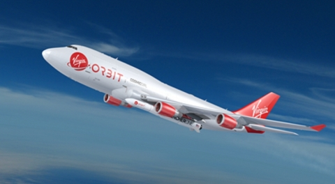 Virgin Orbit's Cosmic Girl, a dedicated 747-400 carrier aircraft, will carry LauncherOne (Photo: Bus ...