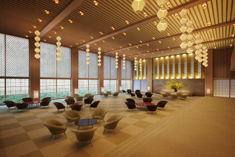 "The Okura Prestige Tower's lobby will be a reprise of the original Hotel Okura Tokyo lobby, proudly carrying on the Okura's tradition of beautiful Japanese aesthetics. Decorations will include signature legacy pieces such as the Okura Lantern ceiling lights, lacquered tables and chairs arranged like plum flowers, the world map and clock, and paper lamps. Also, the Shibenka Four Petal Flowers silk brocade designed by Japanese ""human national treasure"" Kenkichi Tomimoto and shoji paper windows with the Asanoha-mon leaf-pattern lattice work are being painstakingly recreated to assume their positions in the new lobby. (Photo: Business Wire)"