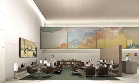The Okura Heritage Wing's lobby will welcome guests with the quiet warmth of tasteful Japanese designs and a beloved wall mural inherited from the former Hotel Okura Tokyo. Architect Yoshio Taniguchi's design will create an atmosphere of calm and peace. The spacious lobby will be accentuated with other iconic Okura decorations, including the hanging Nishikibari silk brocade, hexagonal bracket lights. (Photo: Business Wire)
