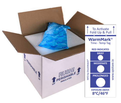 SpotSee's WarmMark® changes color when a temperature goes above a predetermined threshold. (Graphic: Business Wire)
