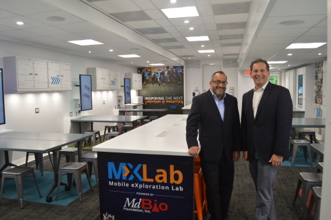 MdBio Foundation CEO, Brian Gaines (left) and incoming MdBio Foundation board of directors chair, Brian Rosen, onboard the Mobile eXploration Lab (MXLab). (Photo: Business Wire)