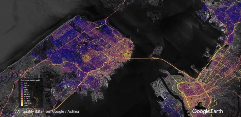 High resolution map of nitrogen dioxide (NO2) emissions across the San Francisco Bay Area, from April 2016 to October 2017, generated by Aclima's environmental intelligence platform. (Graphic: Business Wire)