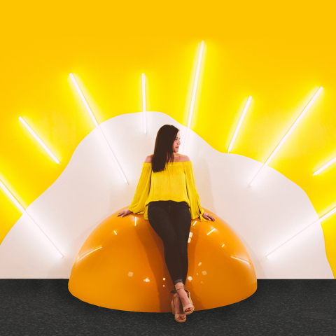 Bask in the light of an egg yolk sunrise on a giant sunny-side up egg at Hall of Breakfast, an interactive pop-up experience that celebrates everything about the greatest meal of the day. (Photo: Business Wire)