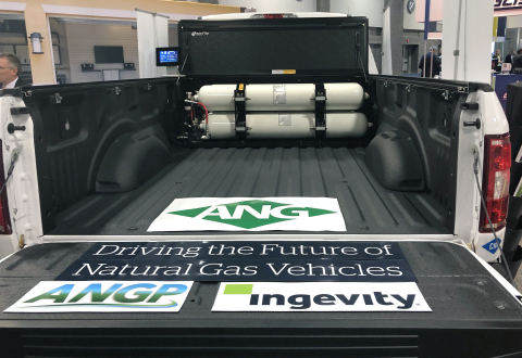Ingevity's ANG-powered bi-fuel Ford F-150 is made possible by Nuchar carbon technology that enables the onboard, low-pressure natural gas fuel tanks and economical at-home refueling options for commercial and light-duty vehicles. (Photo: Business Wire)
