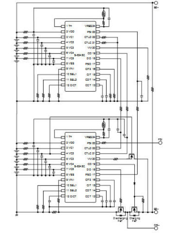 This figure shows an example of a 10-cell protection circuit using the S-8245C Series. (Graphic: Business Wire)