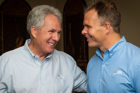 West Point graduate and Army veteran Dean Wegner, right, founder of Authentically American, announced today that NASCAR legend Darrell Waltrip has joined the company's team of investors. Veteran-owned Authentically American offers premium-branded merchandise exclusively made in the US. Wegner aims to build an iconic American brand that is truly American made and sets the standard for 'Made in USA' merchandise. In its first year, Authentically American has served more than 100 customers ranging from Fortune 500 companies and non-profits to small but patriotic businesses. (Photo: Business Wire)