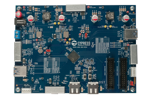 Pictured is the evaluation board for Cypress' EZ-USB HX3PD chip, the industry's first 7-port USB-C h ...