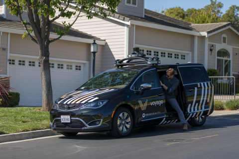 Voyage uses the Velodyne VLS-128™ sensor and Renovo's AWare™ OS in its fleet of autonomous cars. (Photo: Business Wire)