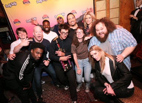 Joanna Goslin, from left, Talib Babb, Darren Carter, Preacher Lawson, Nick Cannon, Richard Bowen, Shang, Paige Weldon, Stasia Patwell, JC Currais and Camilla Cleese celebrate the Chief Laugh Officer at the Laugh Factory on Tuesday, June 26, 2018, in Los Angeles. (Photo by Casey Rodgers/Invision for Laffy Taffy/AP Images)
