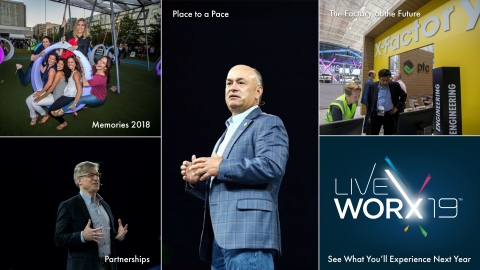 LiveWorx 18 held on June 17-20 is the global technology conference and marketplace for solutions engineered for a smart, connected world. This year's event featured over 6,000 attendees, 240+ breakout sessions, 100+ sponsors and partners, and one community of technologists. LiveWorx 19 will be held June 10-13, 2019 - register today. (Photo: Business Wire).