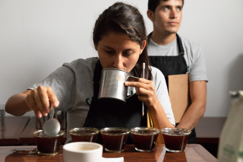 Cenfrocafe associate evaluating Chameleon coffee during a cupping session at the new quality lab at Cenfrocafe in San Ignacio, Peru.(Photo: Business Wire)