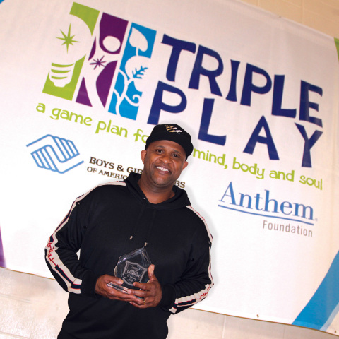 Anthem Foundation presents New York Yankee CC Sabathia with the Anthem Health Champion Award for his ...