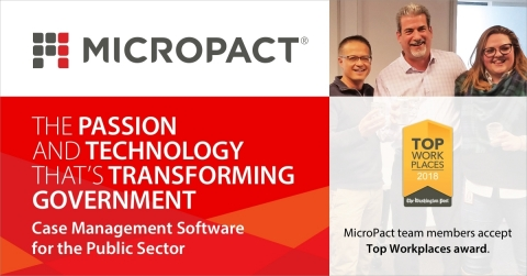 MicroPact Team Members Accept Top Workplaces Award (Graphic: Business Wire)