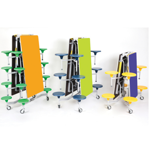Mobile, folding, SICO Table Seating Units are perfect for school dining halls. Wide variety of shapes and colors. (Photo: SICO Incorporated)