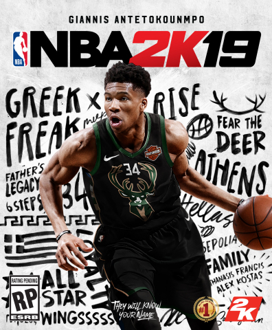 """2K today announced that the NBA(R) 2K19 Standard Edition will feature Milwaukee Bucks standout and two-time NBA All-Star Giannis Antetokounmpo on the cover. The first player in NBA history to finish a regular season ranked in the top 20 in total points, rebounds, assists, steals, and blocks, Antetokounmpo has earned the nickname """"Greek Freak"""" for his incredible athletic abilities. (Photo: Business Wire)"""