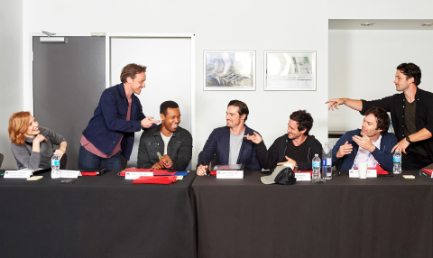 """(L-r) JESSICA CHASTAIN as Beverly, JAMES McAVOY as Bill, ISAIAH MUSTAFA as Mike, JAY RYAN as Ben, JAMES RANSONE as Eddie, BILL HADER as Richie and ANDY BEAN as Stanley in New Line Cinema's horror thriller """"IT CHAPTER TWO,"""" a Warner Bros. Pictures release. Photo by Brooke Palmer"""