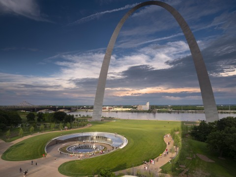An expansion and renovation of the Museum of the Gateway Arch, constructed by McCarthy Building Companies, is the final component of a $380 million redevelopment of the iconic monument in downtown St. Louis. McCarthy also oversaw the transformation of the north and south grounds surrounding the 50-year-old national historic landmark. Photo by Nic Lehoux.