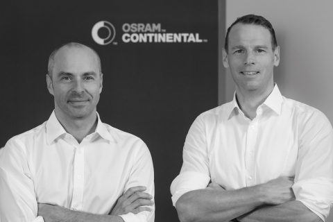 Harald Renner, CFO and member of the general management of Osram Continental GmbH (left) and Dirk Linzmeier, CEO of OSRAM Continental (right). (Photo: Business Wire)