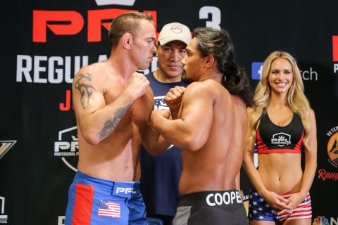 Jake Shields (red and blue shorts) is slated to fight Ray Cooper (black shorts) July 5th at the Smith Center at The George Washington University in Washington, D.C. (Photo: Business Wire)