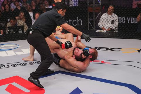 Pavlo Kusch defeats Abubakar Nurmagomedov by submission at PFL3 (Photo: Business Wire)