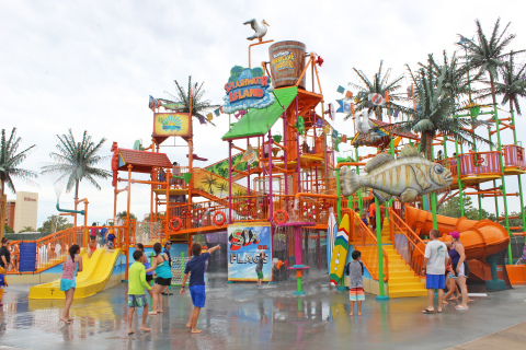 Six Flags Hurricane Harbor Concord opened its biggest new attraction in over a decade on July 6, 2018, Splashwater Island, a colossal water play structure featuring over 100 water play elements including a gigantic tipping bucket to get guests drenched. (Photo: Business Wire)