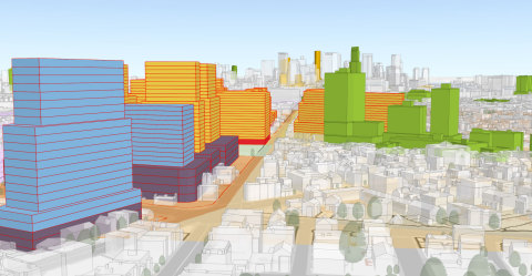 ArcGIS Urban will visualize zoning codes, track project life cycles, and measure the impact of projects after completion. (Graphic: Business Wire)