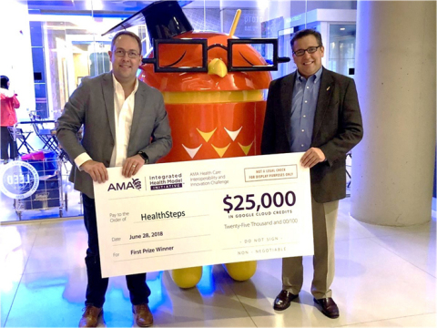 L. to R.: HealthSteps CEO and Co-Founder Benjamin King with COO and Co-Founder Brian Tisher. As First Place  Winner of the AMA Health Care Interoperability and Innovation Challenge, HealthSteps received $25,000 Google Cloud Credits. (Photo: Business Wire)