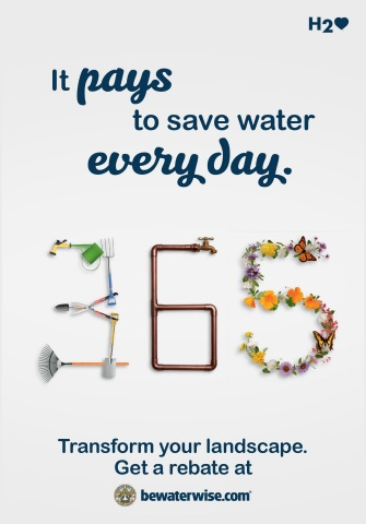 "Metropolitan Water District's new ""365"" campaign encourages Southern Californians to conserve water every day and take advantage of the agency's landscape transformation rebate program. (Graphic: Business Wire)"