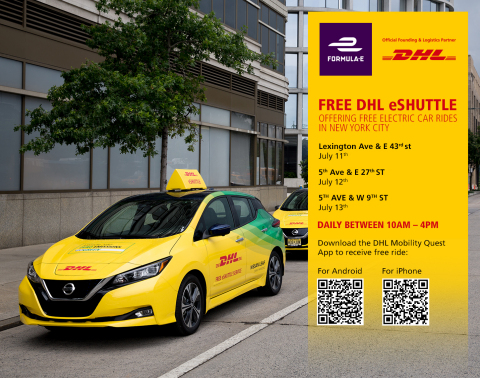 DHL, the Official Logistics Partner of Formula E, is offering New Yorkers a free eShuttle service from key locations across Manhattan this week to reinforce the global logistics company's commitment to drive progress in sustainability and e-mobility. (Photo: Business Wire)