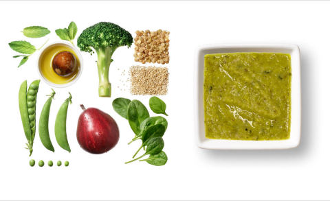 "Square Baby's ""Minty Green"" Square Meal baby puree. 100% complete. 100% balanced. 100% delicious. (Photo: Square Baby)"