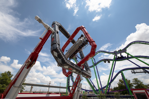 HARLEY QUINN Spinsanity at Six Flags Over Texas is inspired by the movement of a gyroscope and delivers unpredictable, gravity-defying flips, twists and turns. (Photo: Business Wire)