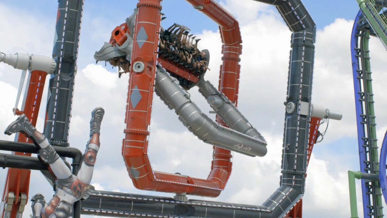 HARLEY QUINN Spinsanity at Six Flags Over Texas open on July 14. This next generation thrill ride features a unique futuristic triple box design that allows the gondola to spin around three separate axes while rotating forward, backwards and sideways simultaneously at up to 70 feet in the air.