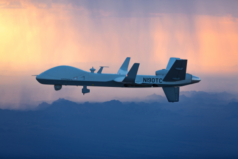 GA-ASI's company-owned MQ-9B SkyGuardian is in flight, bound for Royal Air Force (RAF) Fairford in G ...