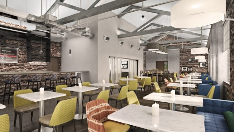Rendering of the dining area in the new Hampton Inn by Hilton Petaluma, California. (Photo: Business Wire)