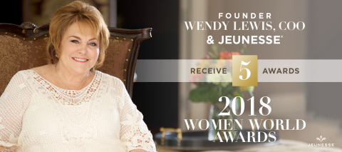 Jeunesse Founder and COO Wendy Lewis named Champion of the Year in 2018 Women World Awards, while Jeunesse was honored for Company Growth of the Year. (Photo: Business Wire)