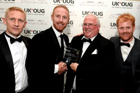 Pictured above from left: Simon Hallett, Gareth Swales, John O'Keeffe (CEO) and Andrew Gooch at the UKOUG Partner of the Year awards 2017 receiving Bronze in the ISV category. (Photo: Business Wire)
