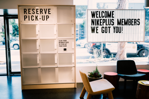 Nike Live will be equipped with smart lockers members can open with their NikePlus member pass. These lockers will serve as a place where members can easily pick up products they've reserved via the Nike App or through Swoosh text. (Photo: Business Wire)