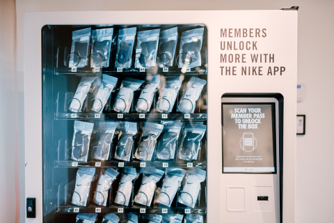 NikePlus Unlock Box is a unique in-store Membership benefit where every two weeks a Member can redeem Unlocks using their Member pass at an innovative, digital vending machine to get ahold of unique product/offerings. (Photo: Business Wire)