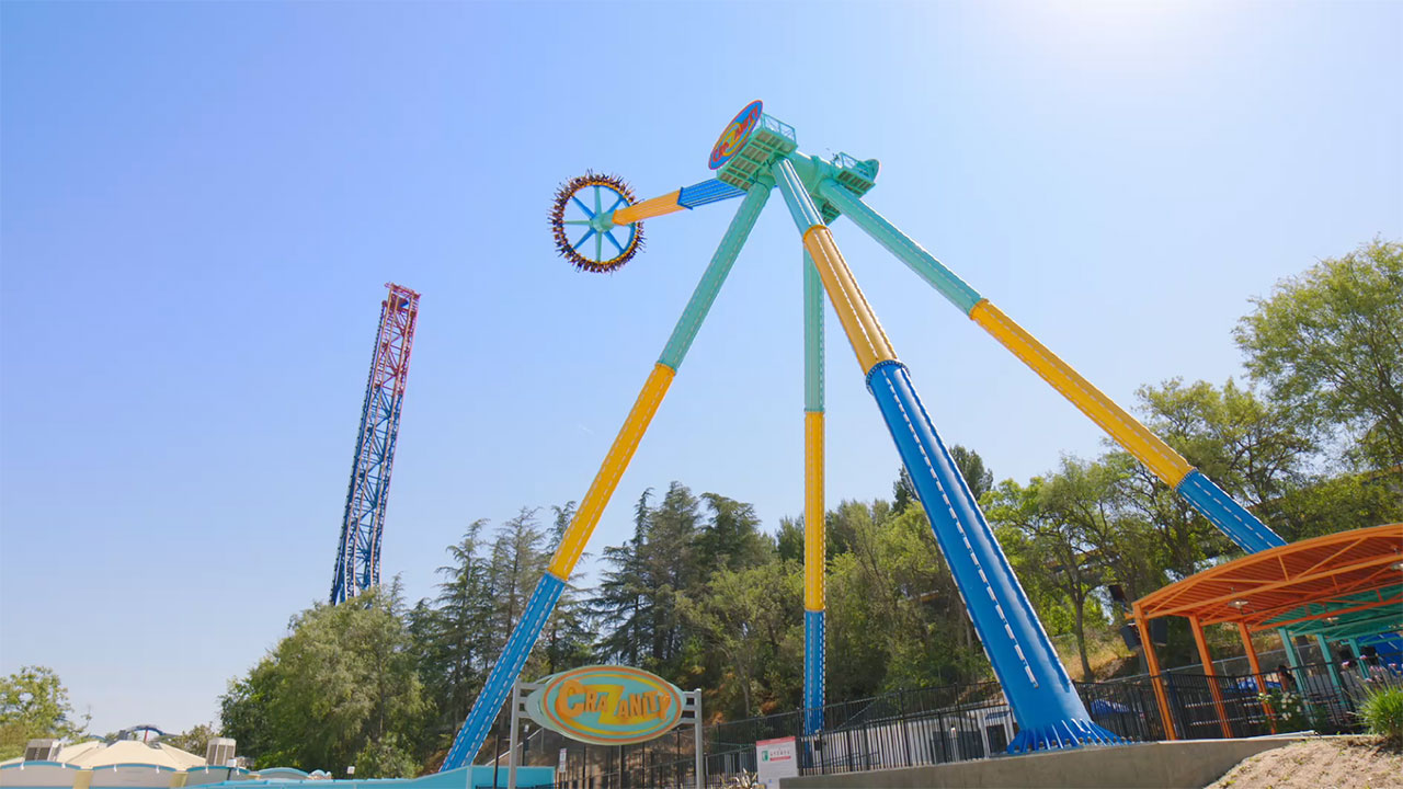 Footage Of The New Crazanity Thrill Ride At Six Flags Magic Mountain Reaching A
