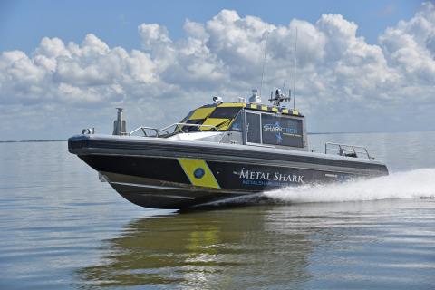 A SHARKTECH-equipped 38 Defiant autonomous vessel testing near Metal Shark's Jeanerette, Louisiana headquarters. (Photo: Business Wire)