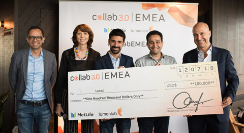 (L-R) Zia Zaman, LumenLab CEO and Chief Innovation Officer of MetLife, Asia; Françoise Lamotte, Head of Direct and Digital, MetLife EMEA; Zal Dastur, COO & Co-founder, Lucep; Kaiesh Vohra, CEO & Co-founder, Lucep; Eric Clurfain, Head of MetLife EMEA (Photo: Business Wire)