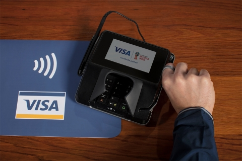 For the 2018 FIFA World Cup Russia™, Visa is the exclusive payment service in all stadiums where payment cards are accepted. In-stadium, fans can pay with contactless Visa credit and debit cards and mobile payment services at the more than 3,500 point-of-sale terminals and 1,000 mobile concessionaires that have been equipped with the latest in payment innovation. (Photo: Business Wire)