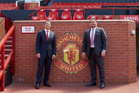 L-R Kohler CEO David Kohler MU Group MD Richard Arnold at Old Trafford (Photo: Business Wire)