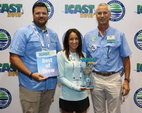 Garmin Panoptix LiveScope wins Best of Show at ICAST 2018, the sportfishing industry's most prestigious tradeshow. (L to R): David Dunn, Director of Marine Sales; Carly Hysell, PR Manager; Glenn Hughes, ASA President (Photo: Business Wire)