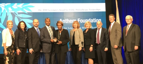 Pictured with Ben Carson, Secretary of the U.S. Department of Housing and Urban Development are representatives of the Anthem Foundation and the American Lung Association to receive the 2018 HUD Secretary's Award for Public-Philanthropic Partnerships (Photo: Business Wire)
