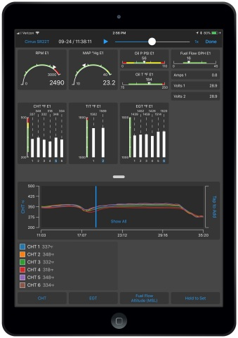 Garmin Pilot real-time engine information on Apple mobile devices (Photo: Business Wire)