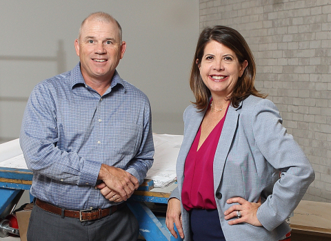 Joule Processing COO Chuck Laughter and CAO Katherine Warren inspect the build-out of Joule's new office space. (Photo: Business Wire)